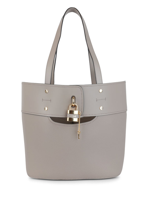 Chloé Aby Motty Gray Leather Padlock Small Bucket Bag
