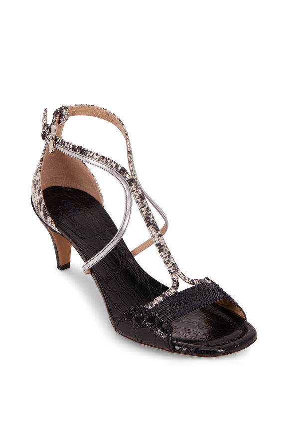 Chloé Carla Black Crocodile T-Strap Sandal, 60mm
