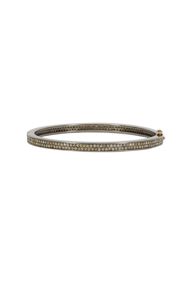 Gold & Silver Hammered Diamond Bangle Bracelet