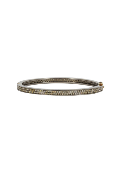 Loren Jewels - Gold & Silver Hammered Diamond Bangle Bracelet