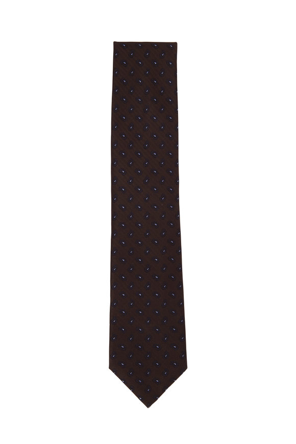 Brioni Dark Brown & Navy Paisley Silk Necktie
