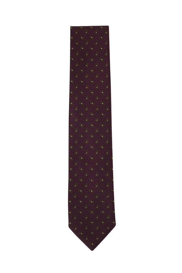 Brioni Dark Purple Paisley Silk Necktie