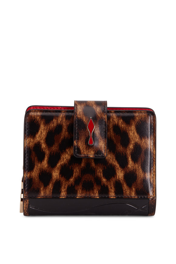 Christian Louboutin Paloma Brown Leopard Print Leather Small Wallet