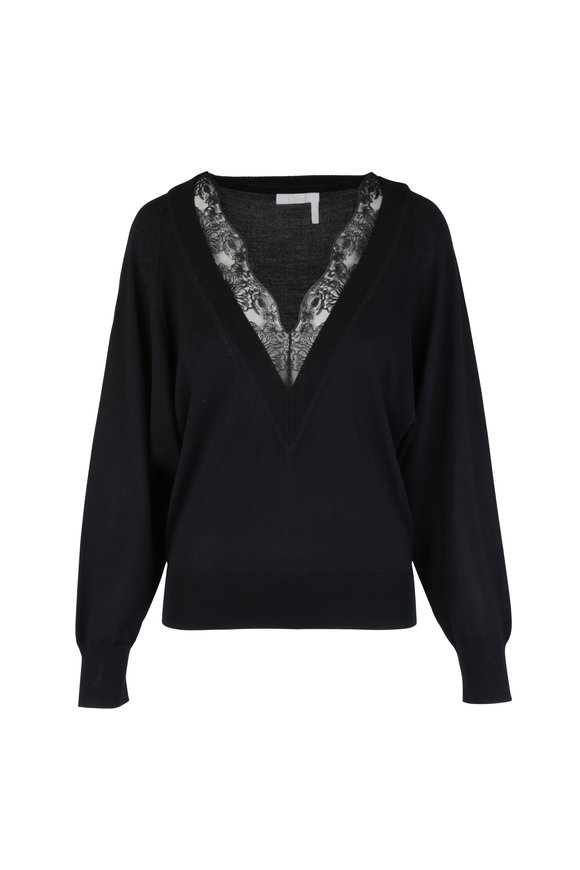 Chloé Black Wool & Silk Lace Inset Sweater