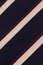 Brioni - Navy & White Diagonal Stripe Necktie