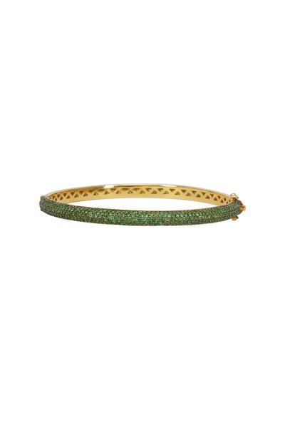 Loren Jewels - Gold & Silver Tsavorite Garnet Bangle Bracelet