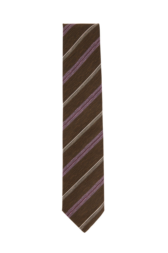 Brioni Coffee & Pink Diagonal Stripe Necktie
