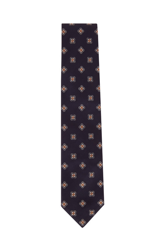 Brioni Navy & Yellow Medallion Silk Necktie