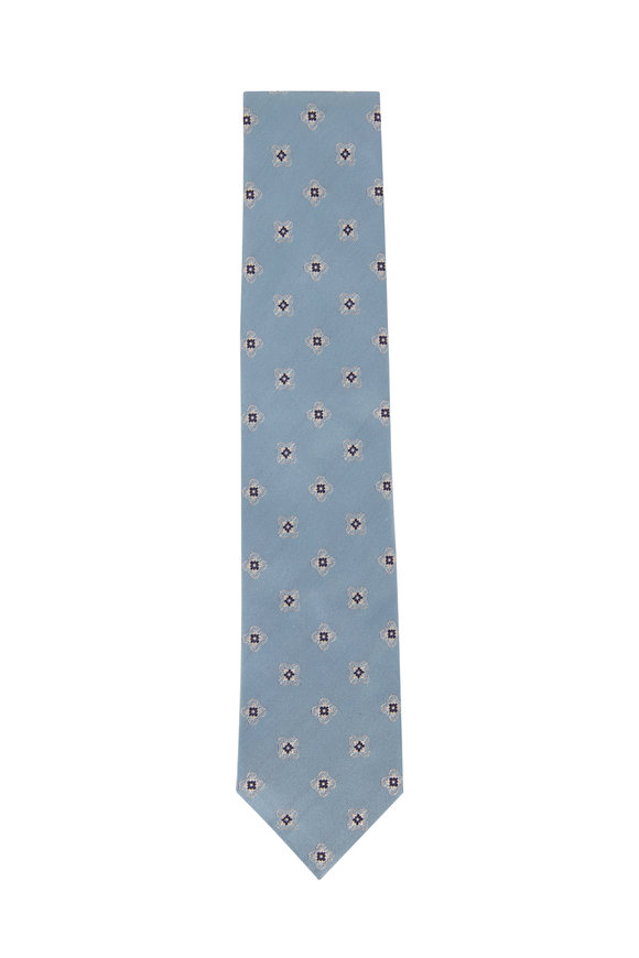 Brioni Light Blue Medallion Silk Necktie