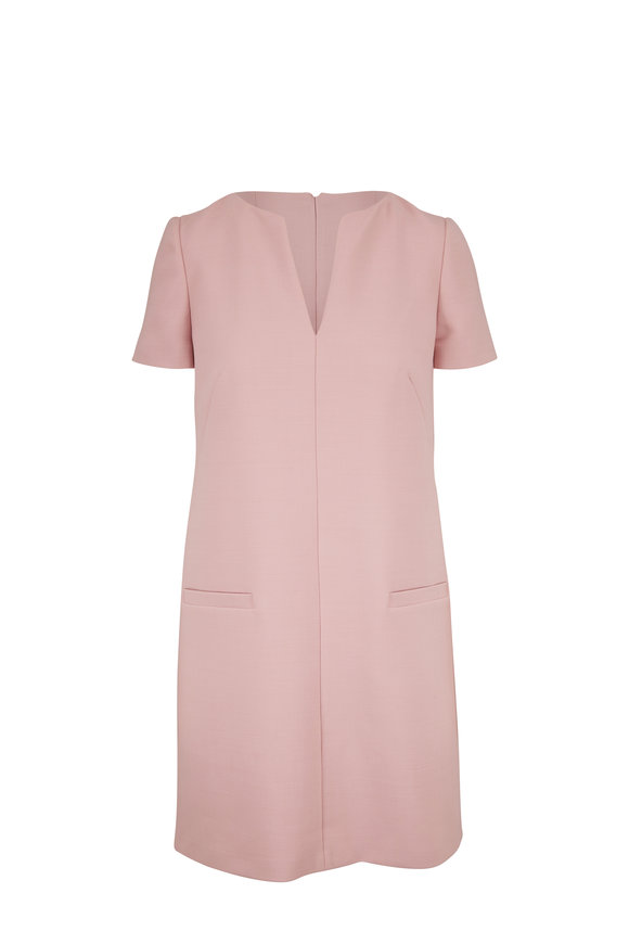 Paule Ka Pale Rose Split Neckline Short Sleeve Shift Dress