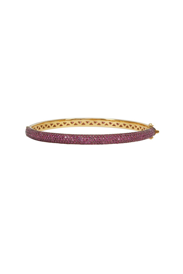 Gold & Silver Pink Sapphire Bangle Bracelet