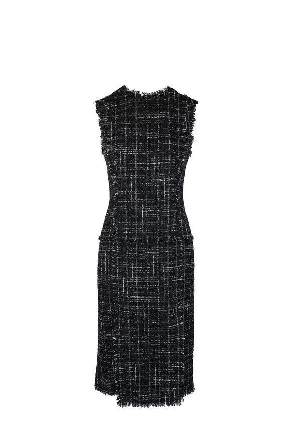Thom Browne Black & White Tweed Frayed Pencil Dress