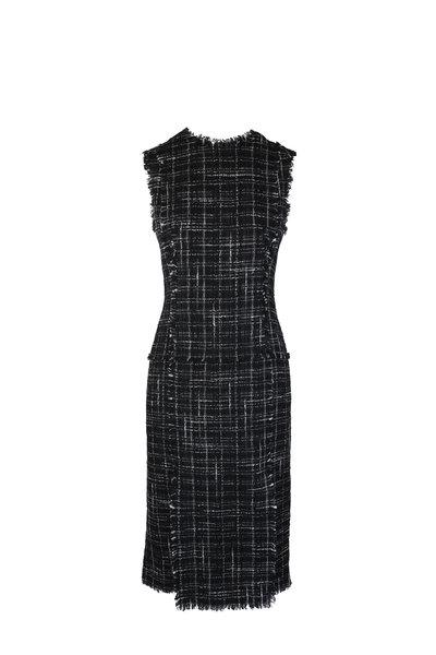 Thom Browne - Black & White Tweed Frayed Pencil Dress