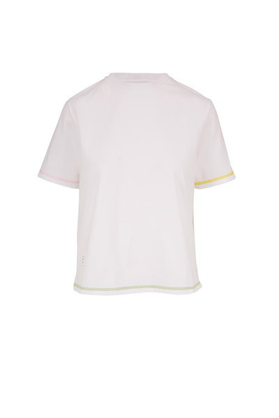 Thom Browne - White Contrast Cover Stitch Short Sleeve T-Shirt