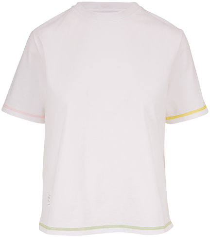 Thom Browne White Contrast Cover Stitch Short Sleeve T-Shirt