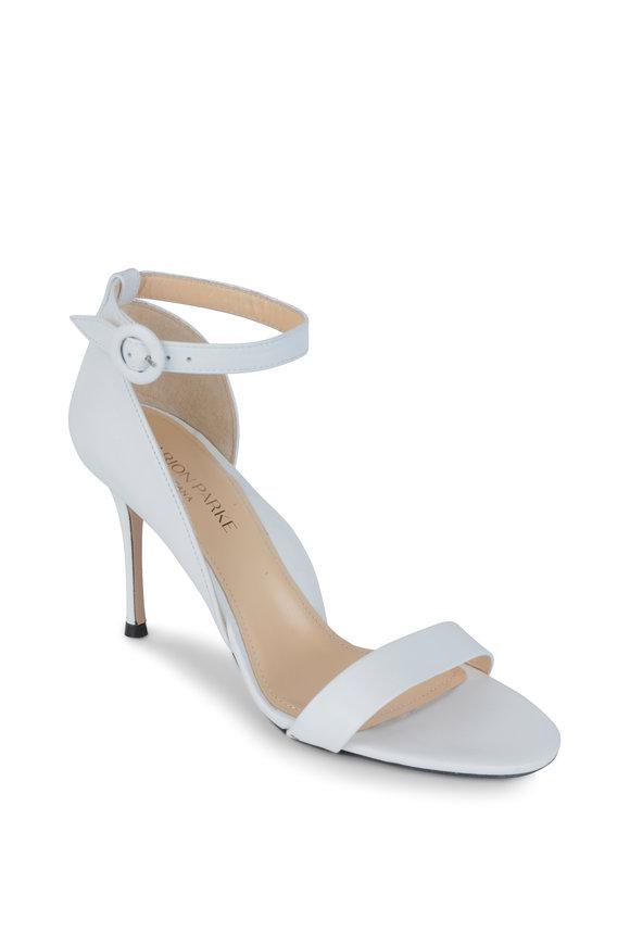 Marion Parke Larkspur White Leather Ankle Strap Sandal, 85mm