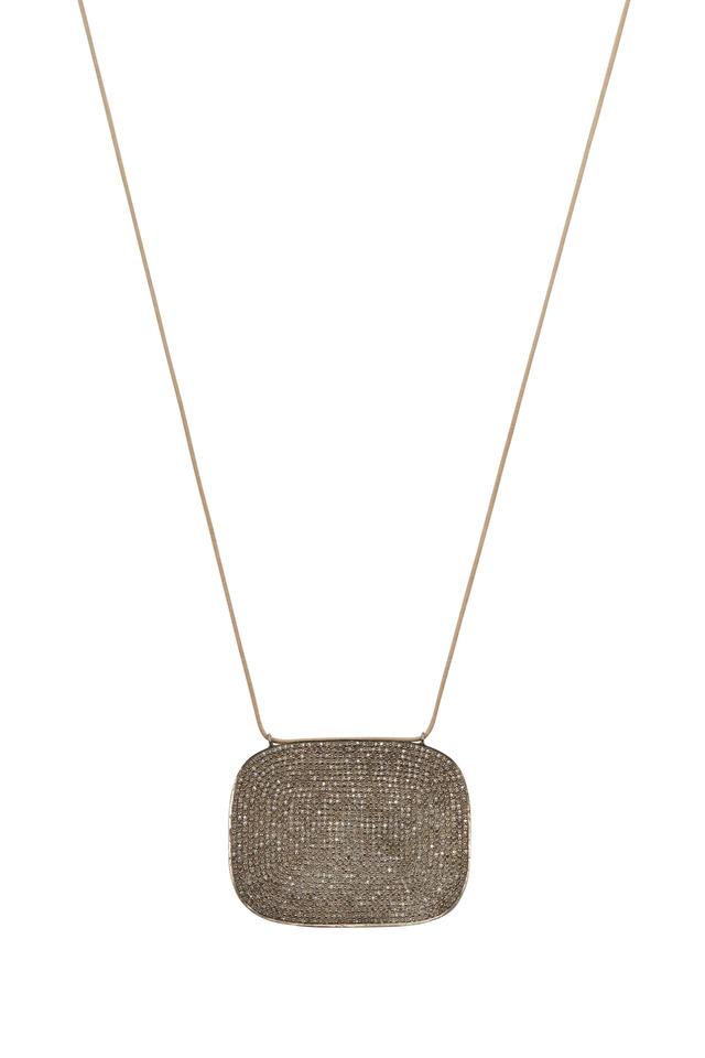 Silver & Cotton Pavé-Set Diamond Disc Necklace