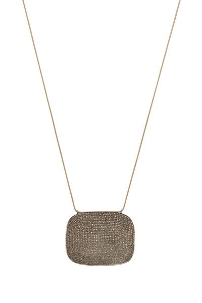 Tulah Jem - Silver & Cotton Pavé-Set Diamond Disc Necklace