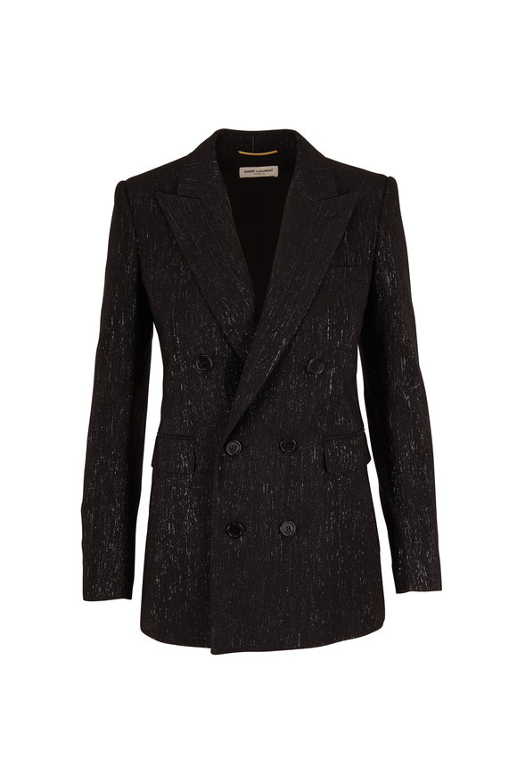 Saint Laurent Black & Silver Sparkle Double-Breasted Jacket
