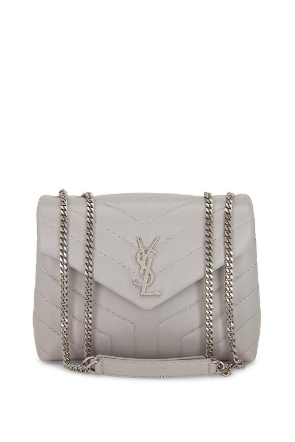 Saint Laurent Loulou Monogram Granite Quilted Small Shoulder Bag