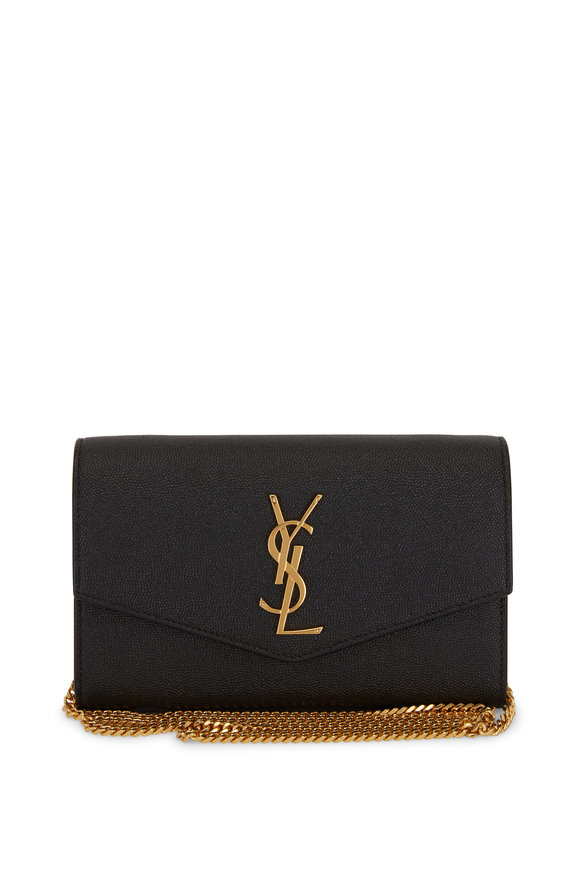 Saint Laurent Paris Black Grained Leather Small Chain Crossbody