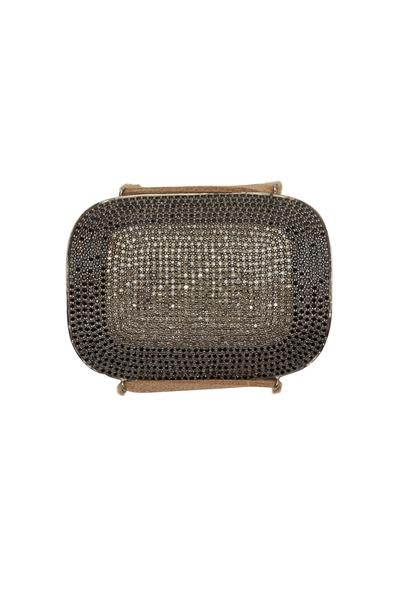 Tulah Jem - Silver & Suede Black Spinel Diamond Cuff Bracelet