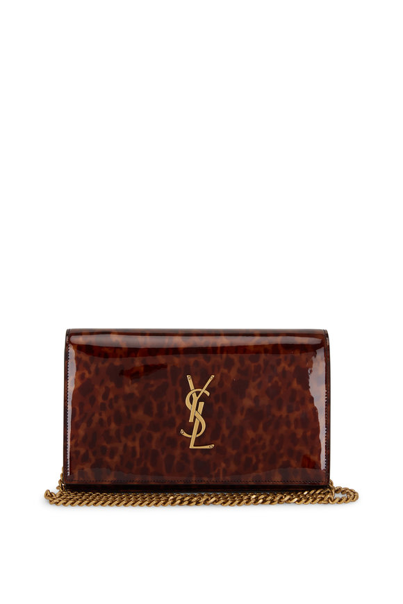Saint Laurent Kate Tortoise Leopard Print Vinyl Chain Wallet