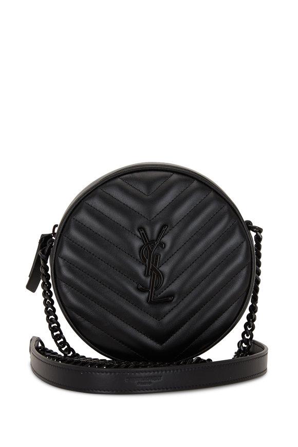 Saint Laurent Monogram Black Quilted Leather Round Crossbody