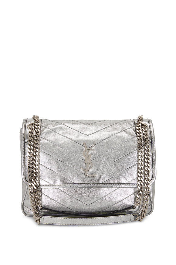 Saint Laurent Niki Monogram Silver Metallic Leather Medium Bag