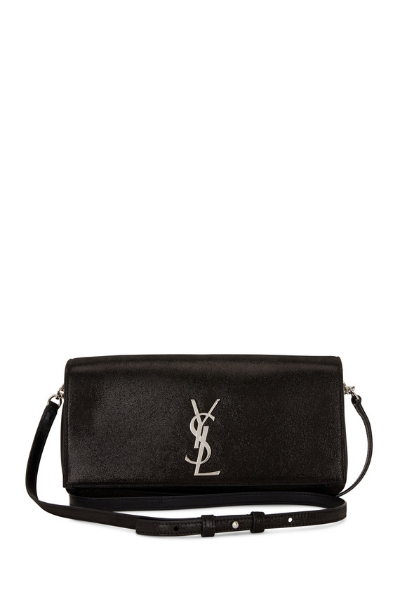Saint Laurent Kate Black Lamé Suede Shoulder Bag