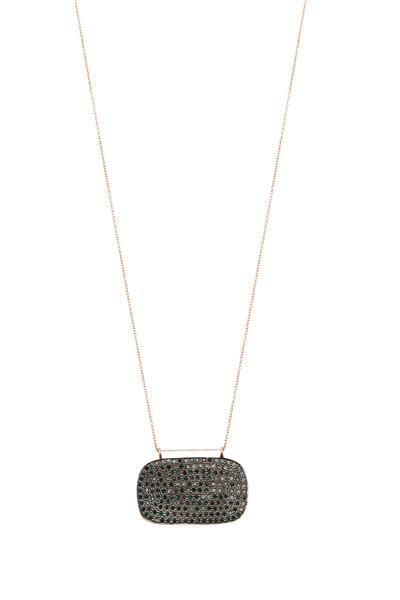 Tulah Jem - Rose Gold Pavé-Set Blue Diamond Necklace