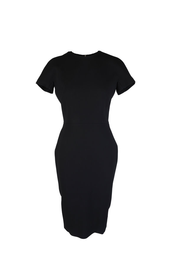 Victoria Beckham Black Tech Dolman Cap Sleeve Fitted Dress