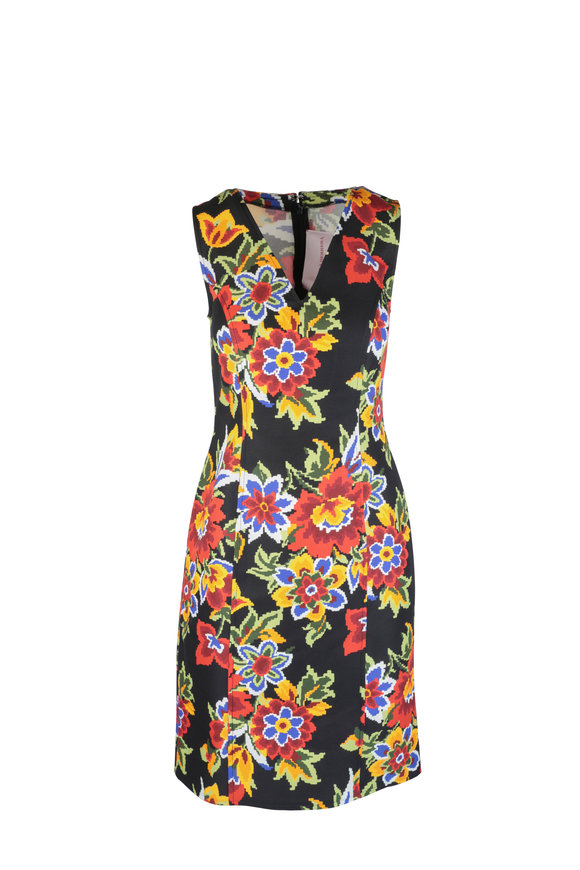 Carolina Herrera Black Multicolor Floral Sleeveles Sheath Dress