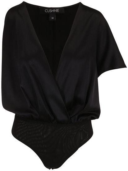 Cushnie Black Satin Asymmetrical Sleeve Bodysuit