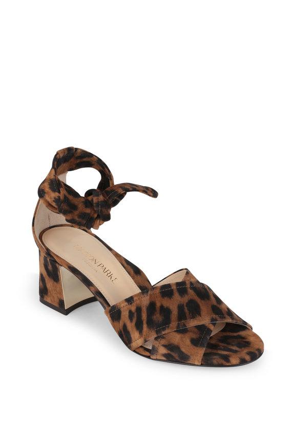 Marion Parke Bella Leopard Suede Ankle Wrap Sandal, 60mm