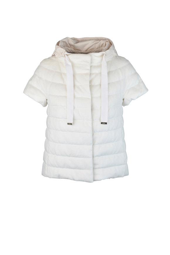 Herno White Melange Silk & Cashmere Puffer Jacket