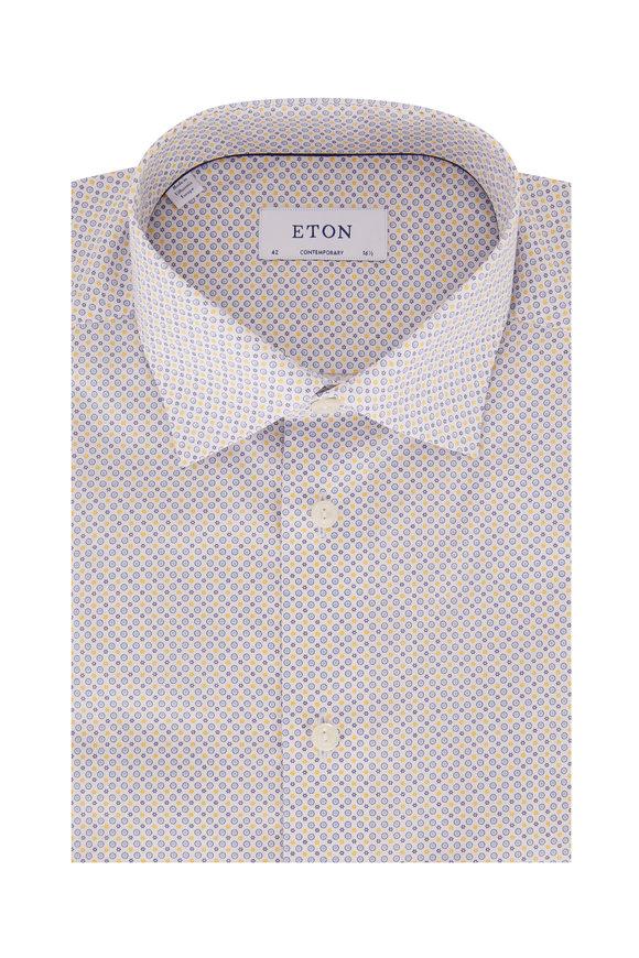 Eton Yellow & Blue Circle Print Poplin Sport Shirt