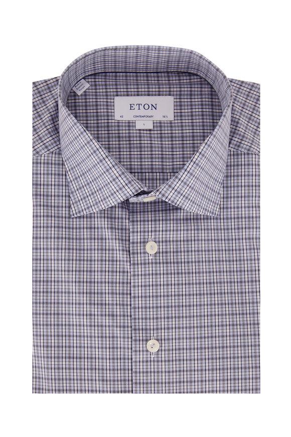 Eton Blue Plaid Contemporary Fit Sport Shirt