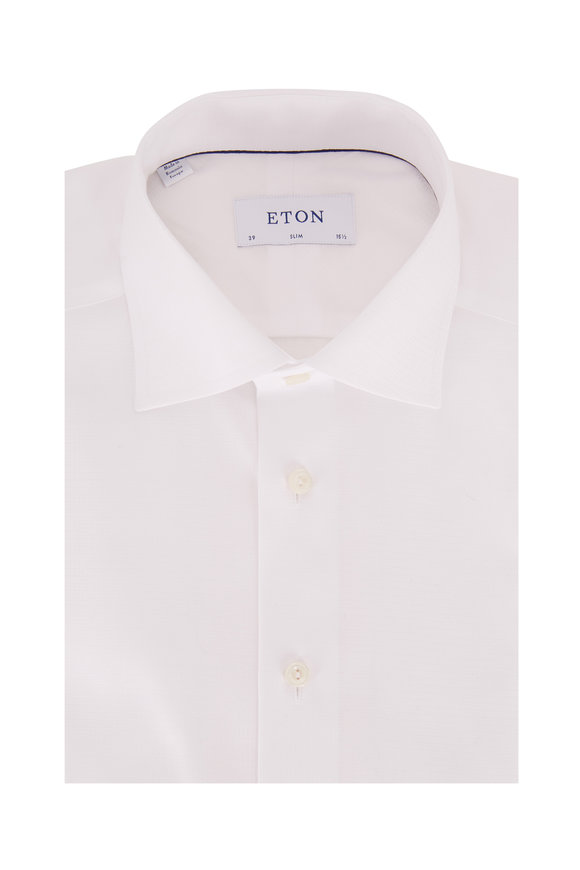 Eton White Satin Dobby Slim Fit Dress Shirt