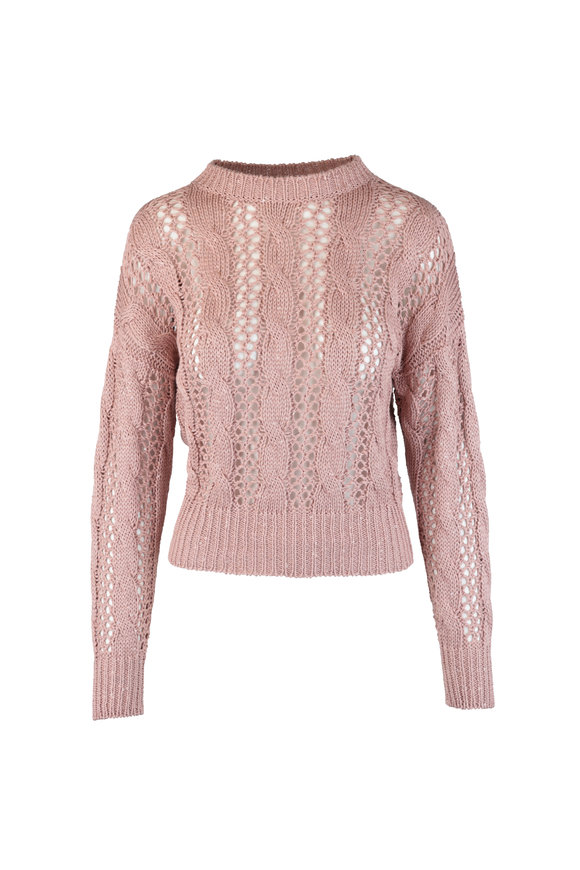Brunello Cucinelli Exclusively Ours! Rose Open Knit Paillette Sweater