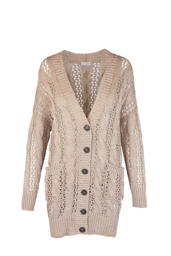 Brunello Cucinelli Almond Cotton Blend Paillette Open Weave Cardigan