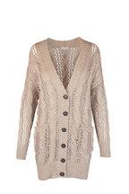 Brunello Cucinelli - Almond Cotton Blend Paillette Open Weave Cardigan
