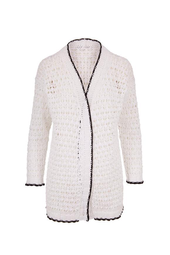 Rani Arabella White Cotton Open Weave Cardigan