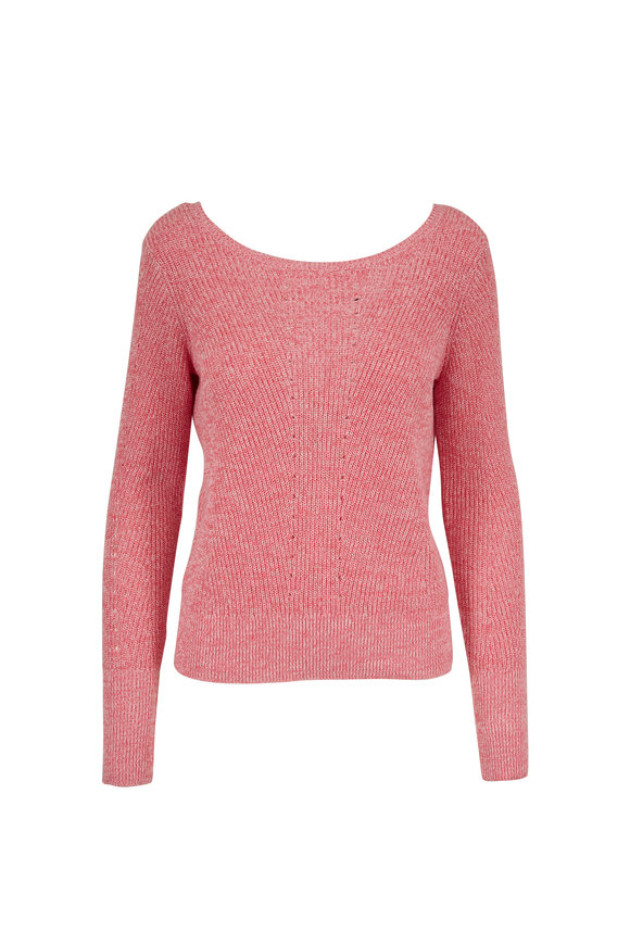 Raffi  Pink Cotton Mixed Stitch Sweater