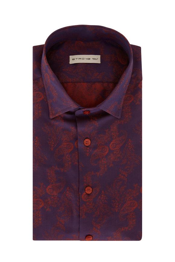Etro Burgundy Paisley Jacquard Sport Shirt