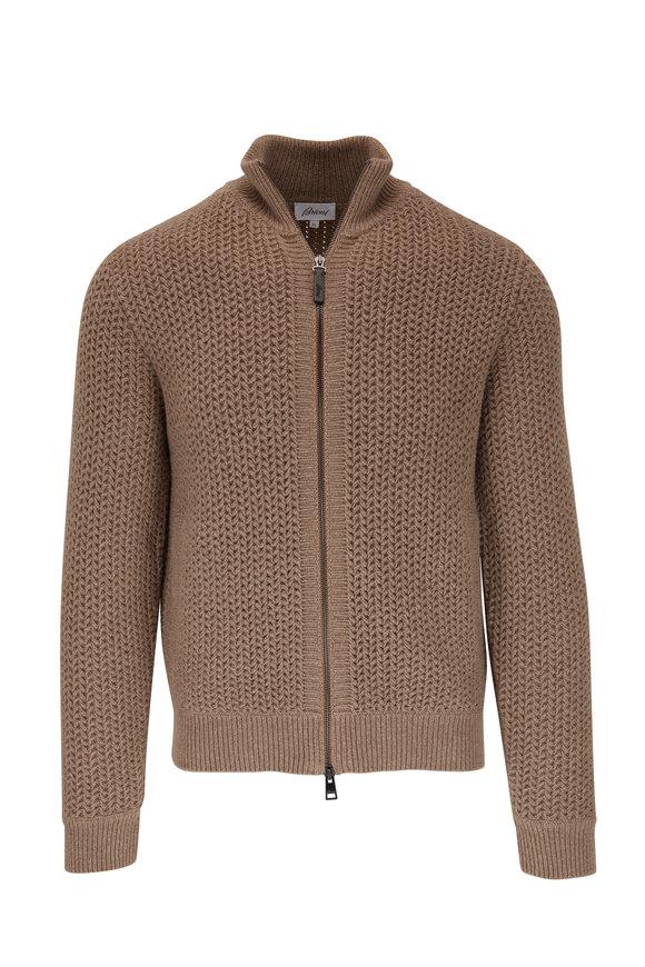 Brioni Taupe Cotton & Cashmere Herringbone Cardigan