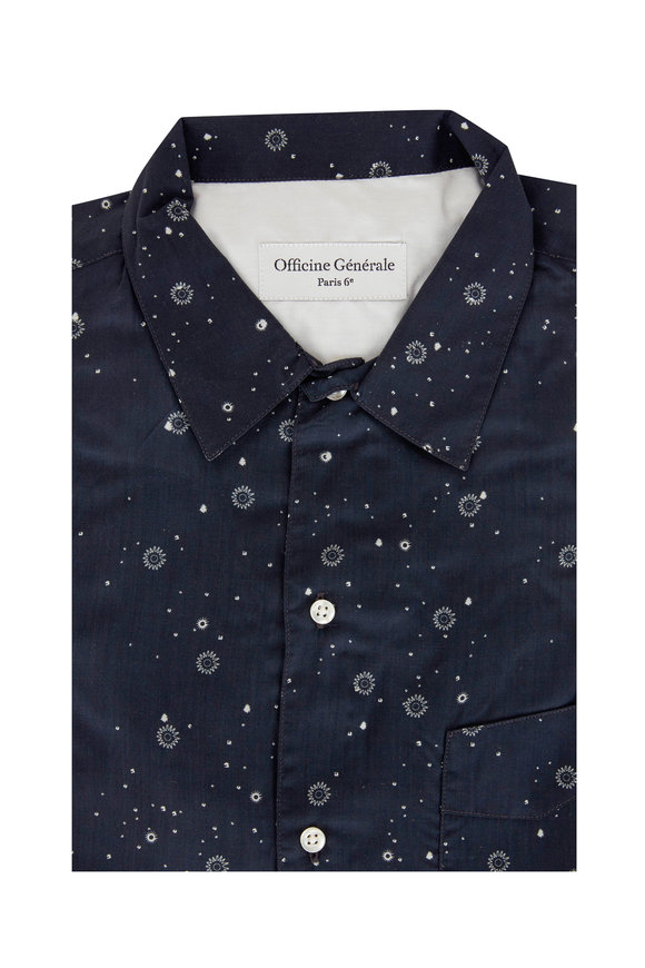 Officine Generale Navy Blue Geometric Sport Shirt