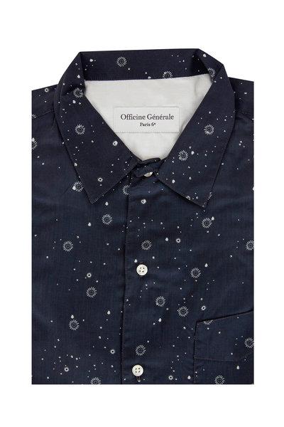 Officine Generale - Navy Blue Geometric Sport Shirt