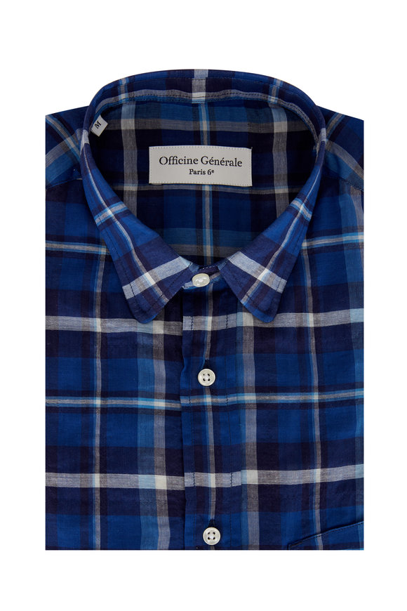 Officine Generale Lipp Royal Blue Plaid Sport Shirt