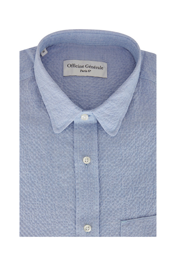 Officine Generale Lipp Light Blue Seersucker Sport Shirt
